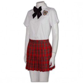 white shirt and red plaid pleated skirts