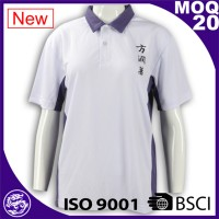 Hot sale high quality ribbed collar cheap custom branded girls polo shirt white blue