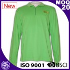 100% contton fashion green long sleeve zipper polo