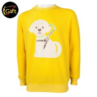 cute puppy printed yellow pullover
