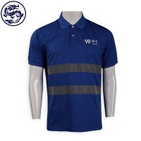 dark blue polo with two grey reflective strips