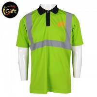 Black collar fluorescent green Polo shirt with reflective strips