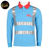 Red light blue Polo shirt with reflective strips