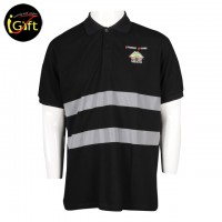 patterned black Polo shirt with reflective strip