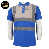 blue and light grey colorblock Polo shirt with reflective strip