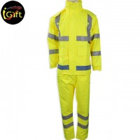 yellow-green coverall with reflective strips