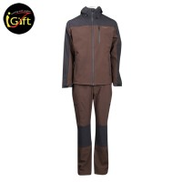 Gray and brown color zip-up suit with reflective strips