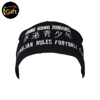 BEANIE027  Hongkong Junior white words knitting black beanie hat
