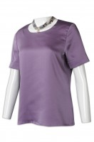 purple hotel attendant uniform round-collared short-sleeved