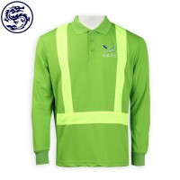 Green polo shirt with light green reflective strips
