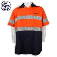 Orange and dark blue stitched Polo Shirt with reflective strips