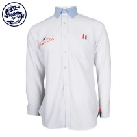 White shirt with print and blue collar