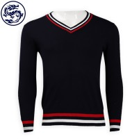 Customized Contrast V-neck Slim Mens Sweater 2/32 Cotton 269G Sweater Hong Kong Company