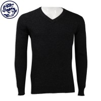 Makes a black tight-fitting V-neck sweater 16s 100% lambskin sweater Shop