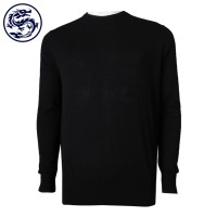 Custom Black Round Neck Sweater 100% Cotton Sweater Manufacturer
