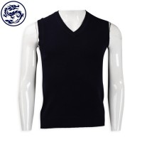 supply black V-neck cold vest 2/16s100% sheep hair 161G lambwool online order cold vest