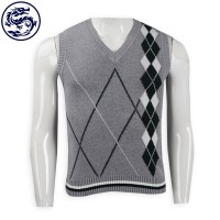 Design Men's Vest Cold Vest Rhombus Jacquard Vest Cold Tank 2/32 Cotton 271G Cold Vest Manufacturer