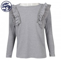 Making Children's Long Sleeve T-Shirt Shoulder Lace 95% Cotton 5% Spandex Children's Wear Manufacturer