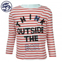 Design Children's Long Sleeve T-Shirt Stripe Horizontal Room Strip 100% Cotton Children's Clothing Factory