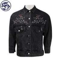 design black denim jacket embroidered denim jacket denim manufacturer