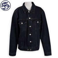 custom printed logo denim jacket denim supplier