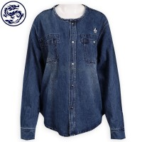 custom-made round neck denim jacket button section denim shop