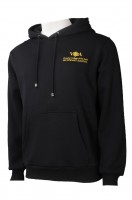 Make black embroidered logo custom clean color hoodie