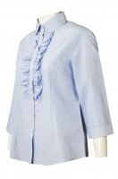 Design of Embossed Princess Neck Women's Shirt with Chest Brake