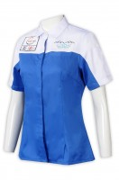 Design air-conditioning engineering blue and white color reverse collar embroidery industrial uniform
