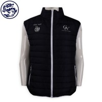 custom quilted zipper vest jacket equestrian school hot word back collar embroidery quilted jacket manufacturer