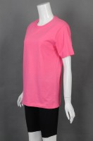 Customized pink round neck T-shirt group uniform