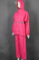 Custom-made pink hooded raincoat suit uniform