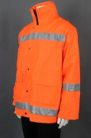 Sample custom orange long-sleeved zipper coat rain coat uniform